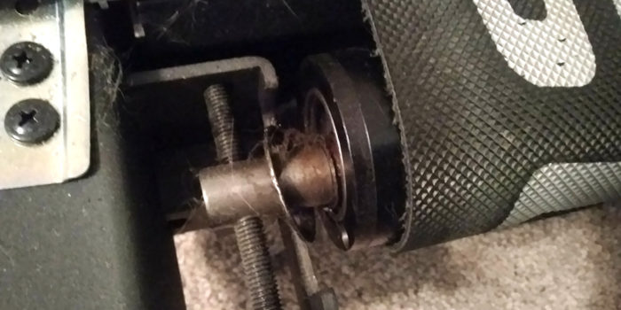 Broken rear roller on a treadmill
