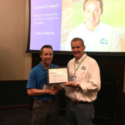Drew Martin received the Founder's Award for having the highest revenue for the first 6 months of business.