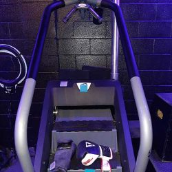 Stair Stepper with boxing gloves on it