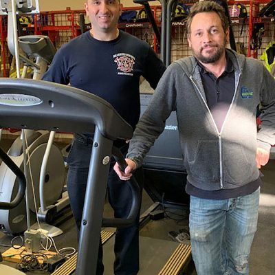 FMT Tech with a first responder and a treadmill